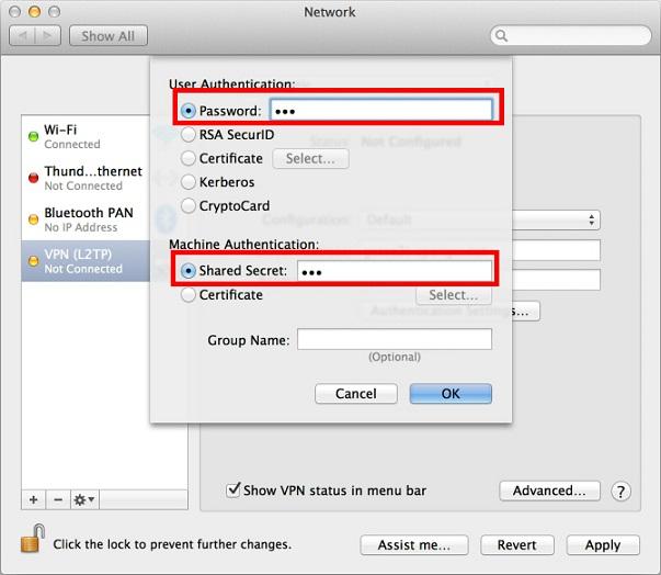 Setup VPN in Mac OS X - 10